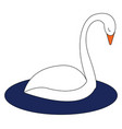 swan hand drawn design on white background vector image vector image