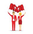 switzerland flag waving man and woman vector image vector image