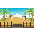 Two girls playing volleyball vector image vector image