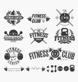 typographic fitness emblems vector image vector image