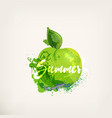 Watercolor apple with lettering