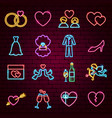 wedding neon icons vector image vector image