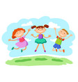 stick kids jumping together vector image