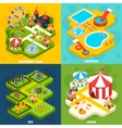 Amusement Park Isometric 4 Icons Square vector image vector image