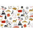 animals winter seamless pattern with the vector image