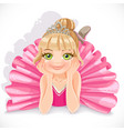 Beautiful ballerina girl in pink dress lie on vector image vector image