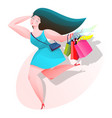 beautiful woman shopping icon with shadow vector image vector image
