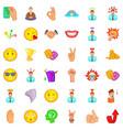 blush icons set cartoon style vector image