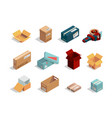 boxes isometric cardboard packages open and vector image