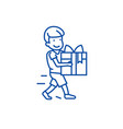 boy carring gift line icon concept boy carring vector image
