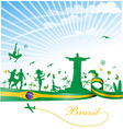 brazil background with flag and symbol vector image