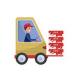 cheerful man driving loading machine with milk vector image vector image