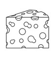 cheese slice monochrome silhouette on white vector image