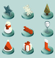 christmas color isometric icons vector image vector image