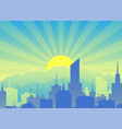 cityscape against backdrop sunrise vector image