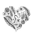 collection hand drawn tropical plants vector image
