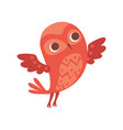 cute funny cartoon red owlet bird character vector image vector image