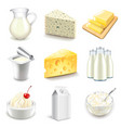 Dairy products icons set vector image