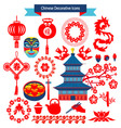 decorative icons and chinese travel symbols vector image vector image