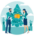 flat men and women with gift box vector image vector image