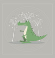 funny cartoon crocodile palm trees on nature vector image