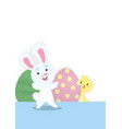funny rabbit and chick vector image