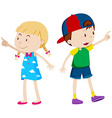 Girl pointing left and boy pointing right vector image vector image