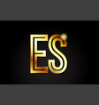 gold alphabet letter es e s logo combination icon