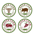 green farm and fresh meat vintage labels vector image vector image