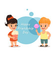 happy friendship day smiling girl with popcorn vector image vector image