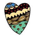 hearts in zentangle style vector image