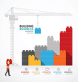 Infographic Template with crane building blocks vector image vector image