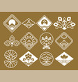 japanese icons with natural and floristic motifs vector image vector image