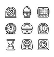 kitchen timer icon set outline style vector image