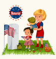 memorial day mother with child on cemetery vector image vector image