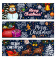 merry christmas sketch greeting banners vector image vector image