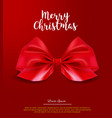 realistic red bow on red background christmas vector image