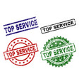scratched textured top service seal stamps vector image