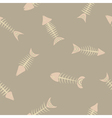 Seamless background with fish skeletons vector image