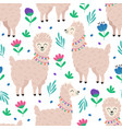 seamless pattern with llama and flowers vector image
