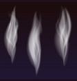 set delicate white cigarette smoke waves on vector image