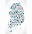 south korea map crystal style artwork vector image