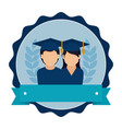 stamp frame with couple people graduated and vector image vector image