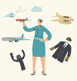 stewardess character wearing uniform holding vector image vector image
