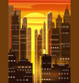 sunset city city scene skyscrapers towers vector image