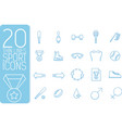 thin line sport set icons concept design vector image