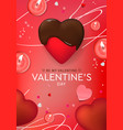 valentines day design chocolate heart candles vector image vector image