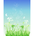 vector floral background with green grass and butt vector image