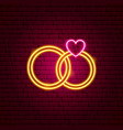 wedding rings neon sign vector image