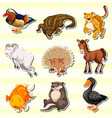 wild animals in sticker set vector image vector image